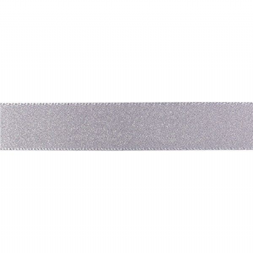 Double Faced Satin Ribbon - Silver/Dolphin Glitter 15mm
